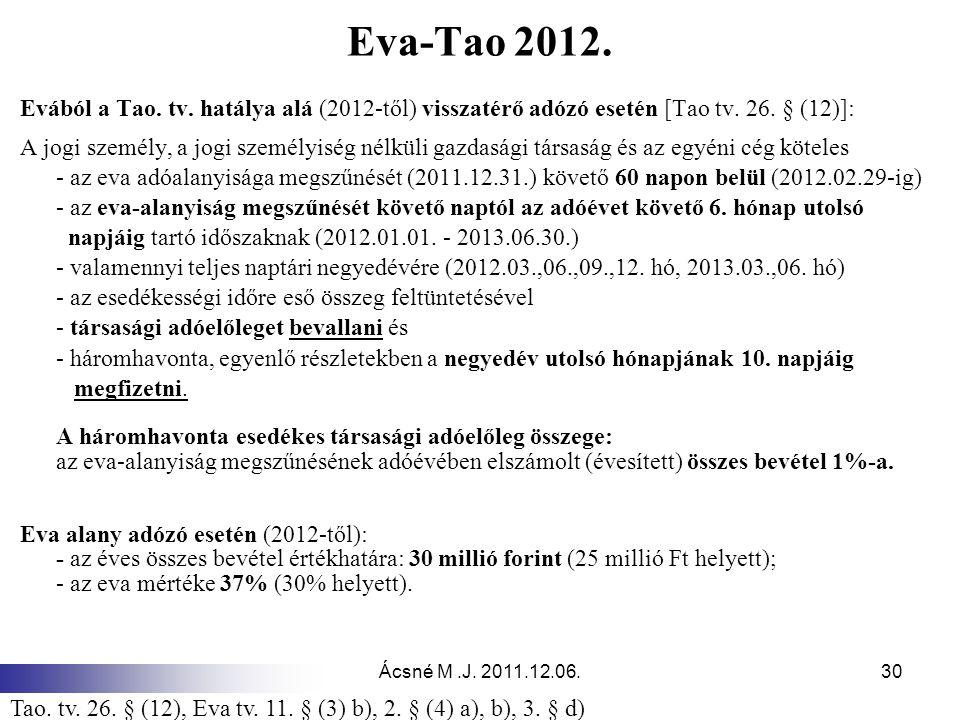 Eva-Tao 2012. Evából a Tao. tv. hatálya alá (2012-től) visszatérő adózó esetén [Tao tv. 26. § (12)]: